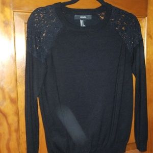 Black Sweater with lace shoulders